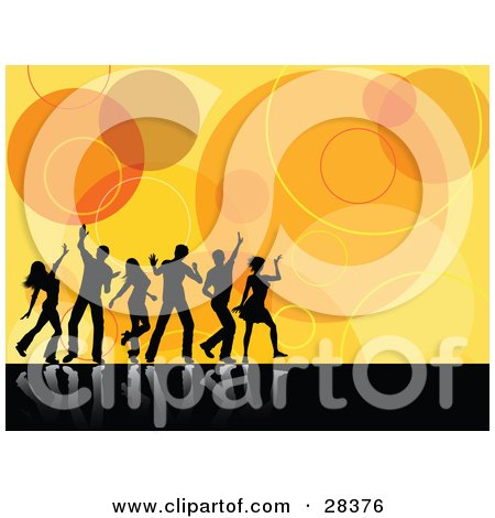Clipart Illustration of Black Silhouetted Dancers Reflecting As White On A Black Surface, Over A Retro Circle Orange Background by KJ Pargeter