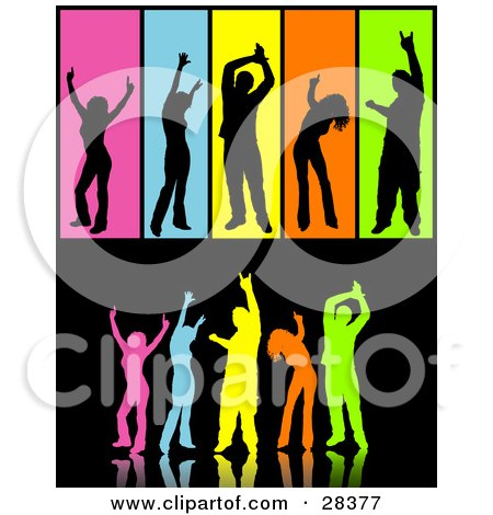 Clipart Illustration of a Group Of Colorful Silhouetted Dancers Over Black, Including Separated People In Black Over Colorful Backgrounds by KJ Pargeter