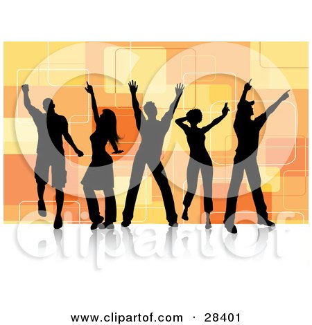Clipart Illustration of Group Of Five Black Silhouetted Dancers Over A Retro Orange Square Background On A White Dance Floor by KJ Pargeter