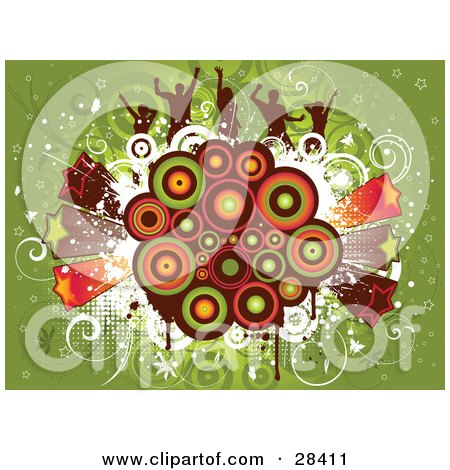 Clipart Illustration of Silhouetted Dancers On A Colorful Retro Circle Cluster With Bursting Stars Over Green by KJ Pargeter