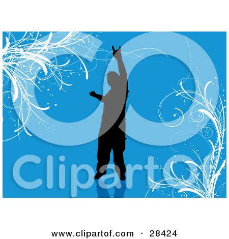 Clipart Illustration of a Black Silhouetted Man Gesturing A Rock On Sign Over A Blue Background With White Vines by KJ Pargeter