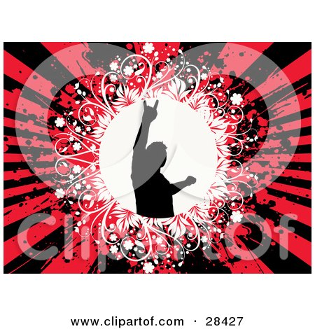 Clipart Illustration of a Black Silhouetted Man Flashing A Rock On Hand Gesture In A White Circle Over A Bursting Black And Red Grunge Background by KJ Pargeter