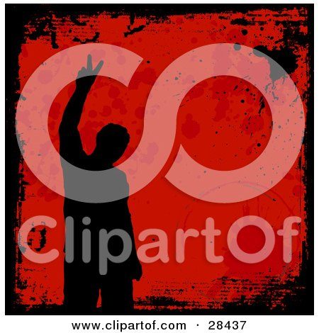 Clipart Illustration of a Black Silhouetted Man Gesturing With A Peace Sign, Over A Red Background With A Black Grunge Border And Water Rings From A Cup by KJ Pargeter