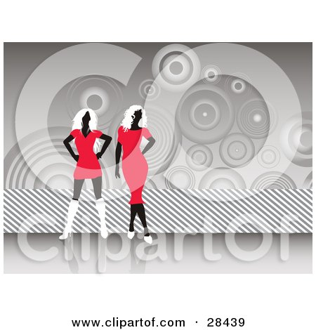 Black  White Cocktail Dress on Illustration Of Two Black Faceless Women In Red Dresses And White