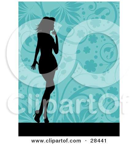 Clipart Illustration of a Black Silhouetted Woman Standing Over A Floral Blue Background by KJ Pargeter
