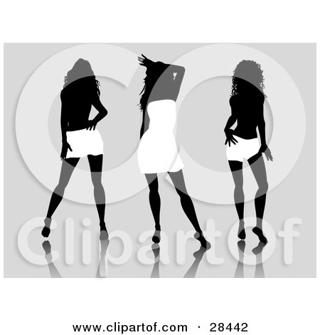 Clipart Illustration of Three Sexy Black Silhouetted Women Wearing White Dresses And Skirts, Posing Over A Gray Background by KJ Pargeter