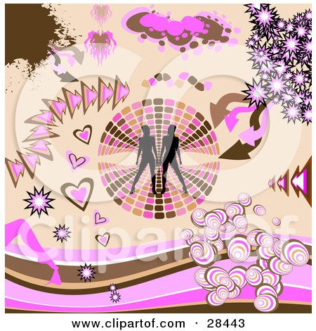 Clipart Illustration of a Set Of Silhouetted Women On A Retro Circle, Brown And Pink Arrows, Bursts And Heart Design Elements by KJ Pargeter