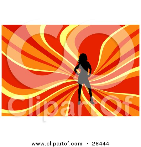 Clipart Illustration of a Black Silhouetted Woman Posing Over A Wavy Red, Orange And Yellow Background by KJ Pargeter