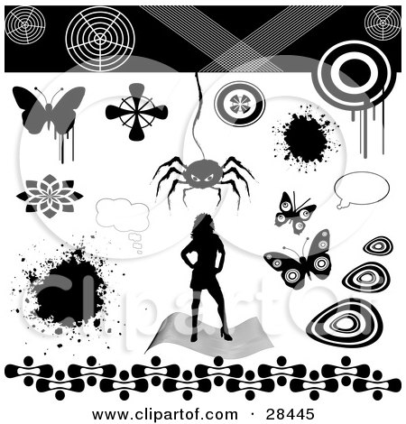 Clipart Illustration of a Set Of A Silhouetted Woman, Splatter, Text Bubble, Butterflies And Spider Design Elements by KJ Pargeter