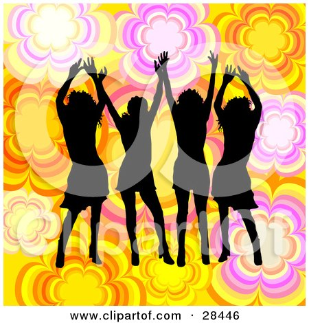 Clipart Illustration of Four Black Silhouetted Women Dancing Over A Yellow, White, Orange And Pink Floral Background by KJ Pargeter
