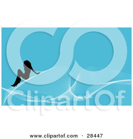 Clipart Illustration of a Black Silhouetted Woman Seated On White Waves Over A Blue Background by KJ Pargeter