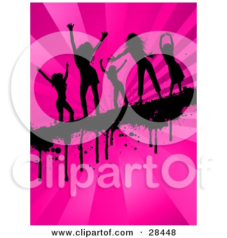 Clipart Illustration of Five Black Silhouetted Women Dancing On A Dripping Grunge Bar Across A Bursting Pink Background by KJ Pargeter