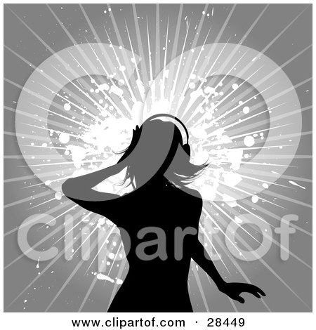 Clipart Illustration of a Black Silhouetted Woman Wearing Headphones, Standing Over A Background With Grunge Splatters And Bursts Over Gray by KJ Pargeter