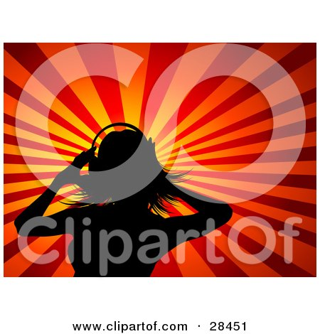 Clipart Illustration of a Black Silhouetted Woman Wearing Headphones And Standing Against A Bursting Orange And Red Background by KJ Pargeter