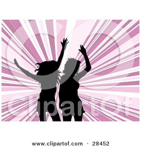 Clipart Illustration of Two Black Silhouetted Women Dancing Over A Background Of Pink And White Bursts by KJ Pargeter