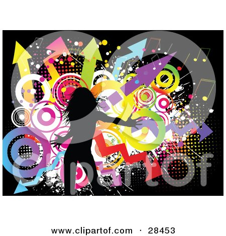 Clipart Illustration of a Black Silhouetted Woman Dancing Over A Funky Grunge Background Of Colorful Circles, Music Notes And Arrows On Black by KJ Pargeter