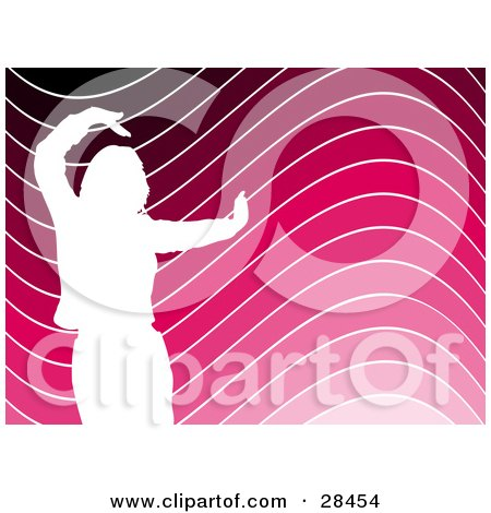 Clipart Illustration of a White Silhouetted Woman Dancing Over A Wavy Black, Pink And White Wavy Background by KJ Pargeter