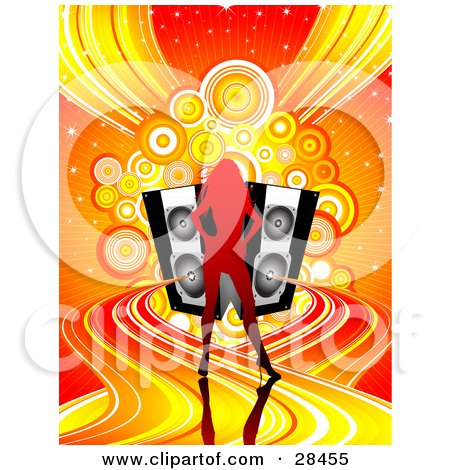 Clipart Illustration of a Gradient Red Silhouetted Woman Standing On Colorful Waves Of Sound Emerging From Black Speakers Over A Sparkly Orange Background With Circles And Waves by KJ Pargeter