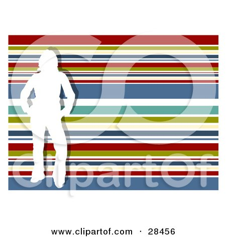Clipart Illustration of a White Silhouetted Woman Standing Over A Horizontal Striped Red, Green, White, Blue And Yellow Striped Background by KJ Pargeter