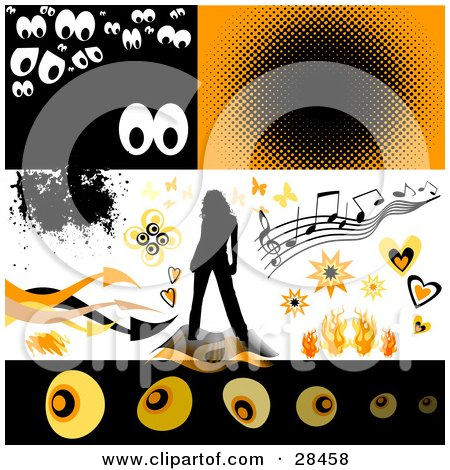 Clipart Illustration of a Set Of Spooky Eyes, Music, Butterflies, Bursts, Hearts, Flames, A Woman And Arrows Design Elements by KJ Pargeter