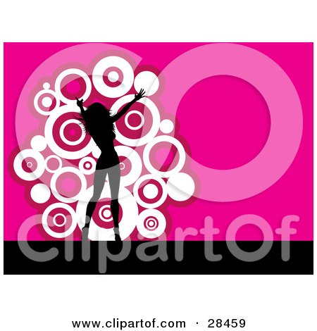 Clipart Illustration of a Black Silhouetted Woman Dancing Over A Pink Background With A Cluster Of White Circles by KJ Pargeter