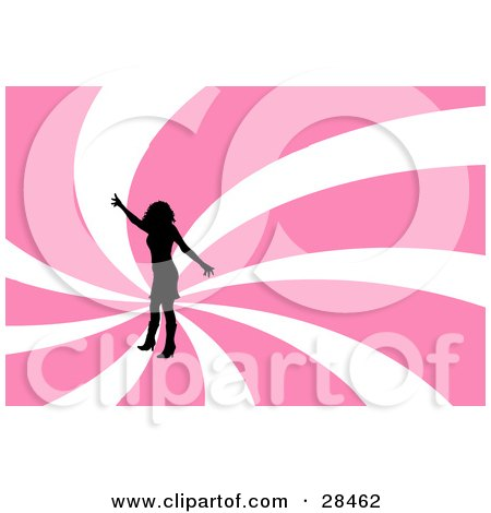 Clipart Illustration of a Black Silhouetted Woman Dancing Over A Spiraling Pink And White Background by KJ Pargeter