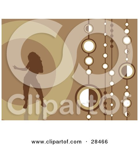 Clipart Illustration of a Brown Silhouetted Woman Dancing Over A Retro Brown Background With Strings Of White Circles by KJ Pargeter