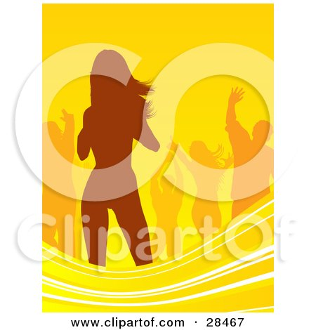 Clipart Illustration of Orange Silhouetted People Dancing Over A Yellow Background With Waves Along The Bottom by KJ Pargeter