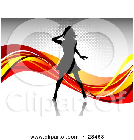 Clipart Illustration of a Black Silhouetted Woman Wearing Headphones And Dancing Over A Gray Background With Waves Of Orange, Red And Yellow by KJ Pargeter