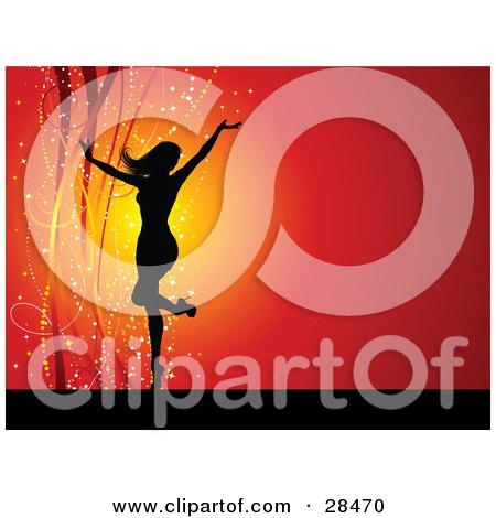 Clipart Illustration of a Black Silhouetted Woman In Heels, Dancing With Her Arms Up Over A Red Background With Sparkles And Ribbons by KJ Pargeter