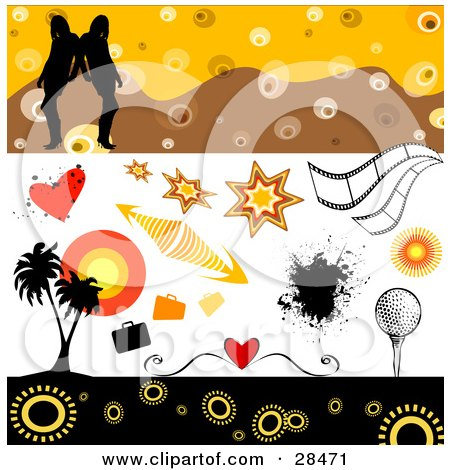 Clipart Illustration of a Set Of Hearts, Bursts, Arrows, Splatters, Film Strips, Golf, Palm Trees And Women Design Elements by KJ Pargeter