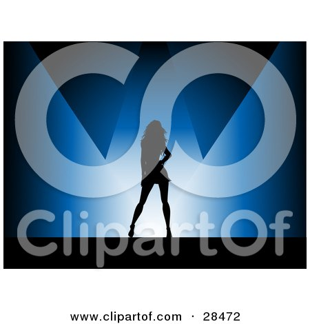 Clipart Illustration of a Black Silhouetted Woman Posing Under Blue Spotlights by KJ Pargeter