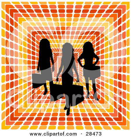 Clipart Illustration of Three Black Silhouetted Women Carrying Shopping Bags Over A Retro Orange, Red And Yellow Square Patterned Background by KJ Pargeter
