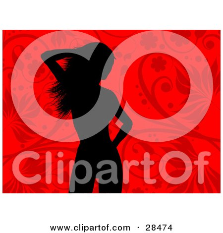 Clipart Illustration of a Black Silhouetted Woman Standing Over A Red Floral Background by KJ Pargeter