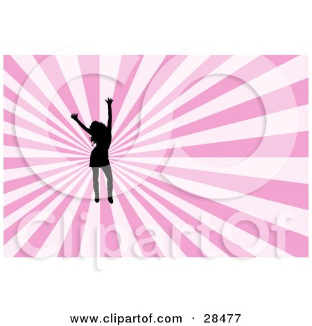 Clipart Illustration of a Black Silhouetted Woman Dancing With Her Arms In The Air, Over A Bursting White And Pink Background by KJ Pargeter