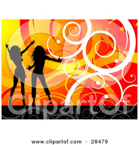 Clipart Illustration of Two Black Silhouetted Women Dancing Over A Gradient Orange And Red Background With White Spirals And Curls by KJ Pargeter