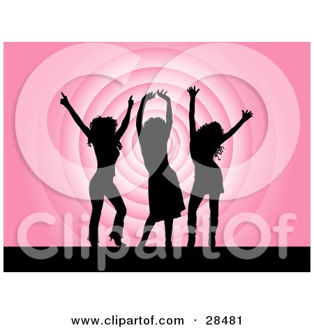 Clipart Illustration of Three Black Silhouetted Women Dancing Over A Pink Repeating Circle Background by KJ Pargeter
