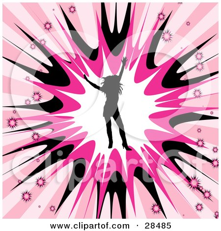 Clipart Illustration of a Black Silhouetted Woman Dancing In A Burst Of White, Pink And Black, Surrounded By Smaller Bursts On A White And Pink Background by KJ Pargeter
