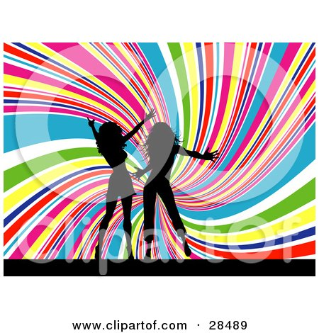 Clipart Illustration of Two Black Silhouetted Women Dancing Together Over A Spiraling Rainbow Background by KJ Pargeter