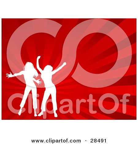 Clipart Illustration of Two White Silhouetted Women Dancing Over A Bursting Red Background by KJ Pargeter