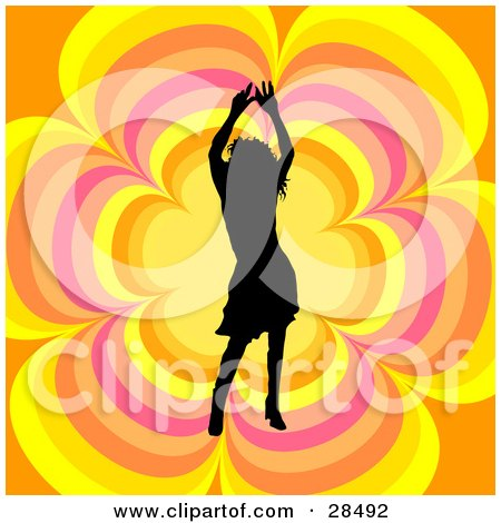 Clipart Illustration of a Black Silhouetted Woman Dancing Over An Orange, Yellow And Pink Floral Background by KJ Pargeter