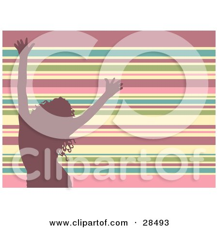 Clipart Illustration of a Pink Silhouetted Woman Dancing Over A Horizontal Striped Pink, Blue, Green And White Background by KJ Pargeter