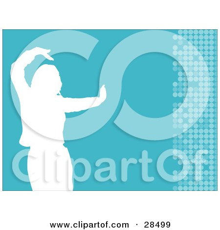 Clipart Illustration of a White Silhouetted Woman Dancing Over A Blue Background With Circles Along The Right Edge by KJ Pargeter