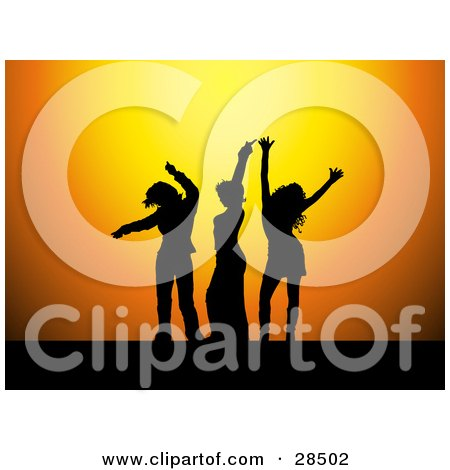 Clipart Illustration of Three Black Silhouetted Women Dancing Over An Orange Background by KJ Pargeter