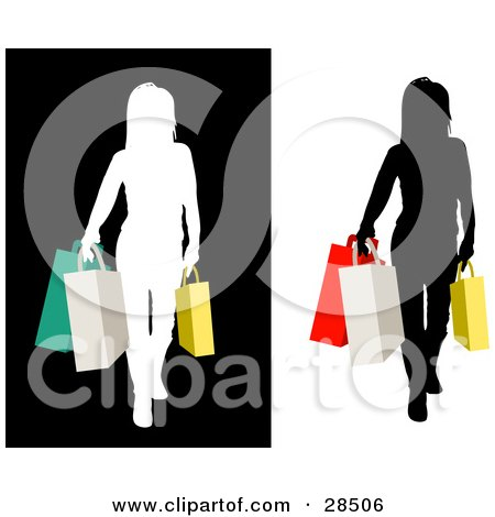 Clipart Illustration of a Woman Silhouetted In Black And White, Carrying Colorful Shopping Bags by KJ Pargeter