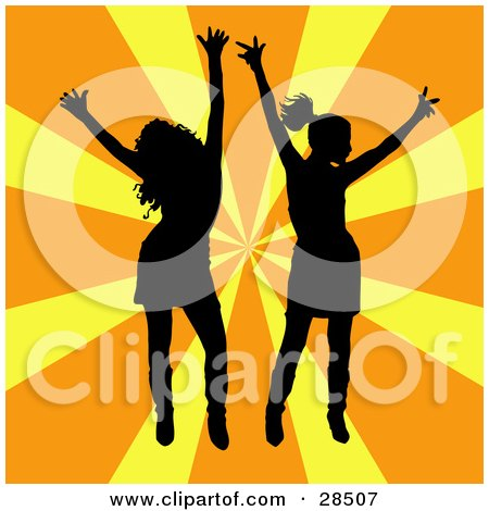Clipart Illustration of Two Black Silhouetted Women Dancing Over A Bursting Orange And Yellow Background by KJ Pargeter