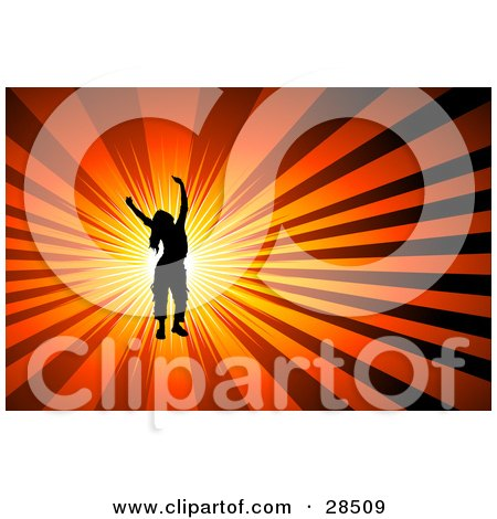 Clipart Illustration of a Black Silhouetted Woman Dancing Over A Burst Of Bright Light On An Orange Background by KJ Pargeter