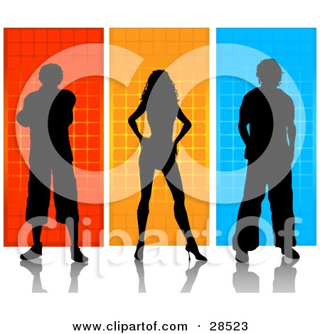 Clipart Illustration of Two Silhouetted Men And A Woman Over Orange, Yellow And Blue Backgrounds  by KJ Pargeter