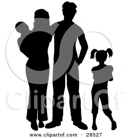 Clipart Illustration of a Black Silhouetted Family With Two Children by KJ Pargeter