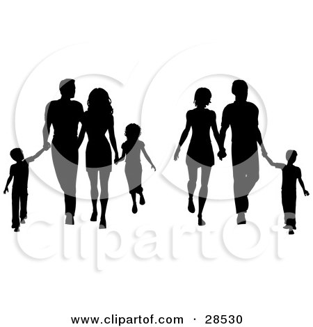 Clipart Illustration of Two Black Silhouetted Families With Children And Parents, Walking And Holding Hands by KJ Pargeter